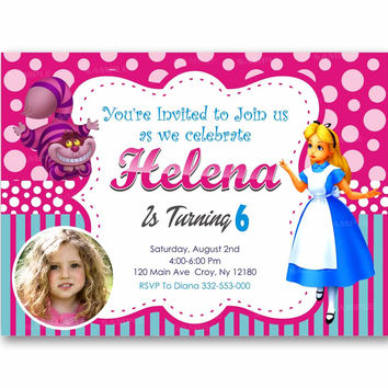Alice in Wonderland Polka Dot Colorful Kids Birthday Invitation Party Design