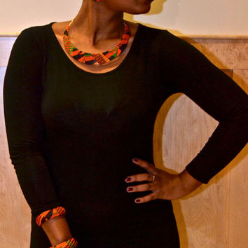 5-piece Black and Kente Necklace, Clutch, Earring, Bangles Jewelry Set