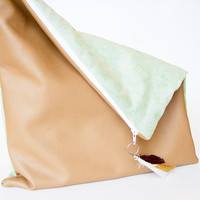 Oversized Foldover Clutch in Pale Green Faux Suede & by Stoic
