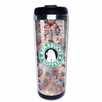 "We Bare Bears ""Bearbucks Coffee"" Tumbler Travel Mug"