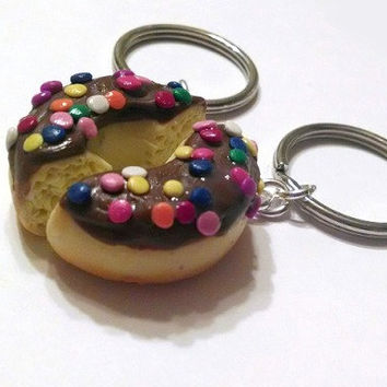 Chocolate Doughnut Halves Best Friends Key Chains, Polymer Clay, Food Accessories