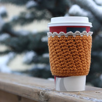Crochet Coffee Cup Cozy / Sleeve - Mustard Yellow with Lace Trim (Ready to Ship)