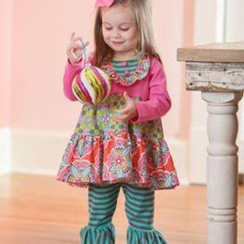 Molly & Millie By Peaches N Cream Holiday Christmas Forever Frosky Tunic Set