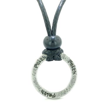 Inspirational Faith Powers Hammered Brass Ring Eternity Circle Handcrafted Amulet Adjustable Necklace