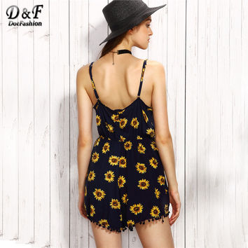 3705fd36c8 Cute Sunflower Romper Women Navy Floral Print Pom Pom Trim Summe