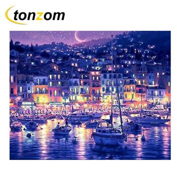 RIHE Night Town Diy Painting By Numbers Beach Boat Oil Painting Cuadros Decoracion Acrylic Paint On Canvas Modern Wall Art