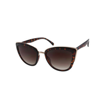 Oversize Tortoise Cateye Sunglasses with Metal Accents