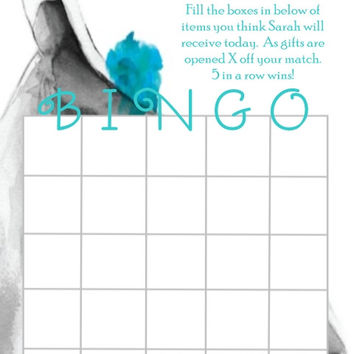 Black and Teal Bridal Shower Bingo Cards