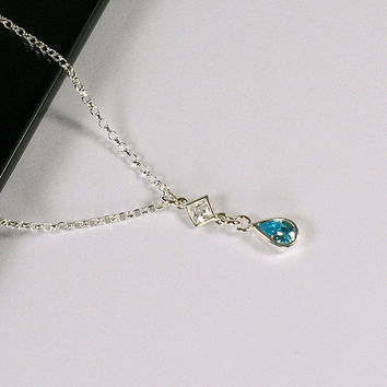 Sterling Silver Teardrop Birthstone Necklace