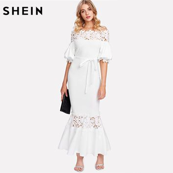 SHEIN White Off the Shoulder Bishop Sleeve Sheath Party Dress Half Sleeve Guipure Lace Panel Self Belted Trumpet Maxi Dress