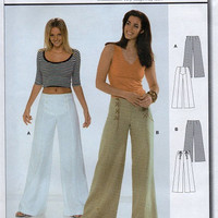 Burda Sewing Pattern High Fashion Wide Leg Panel Button Front Lace Up Pants Close Fitting Sailor Boho Style Sizes 8 to 18