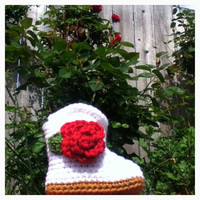 Crochet White Baby Girl Cowboy Booties w/ Rose Applique 6-12mos.