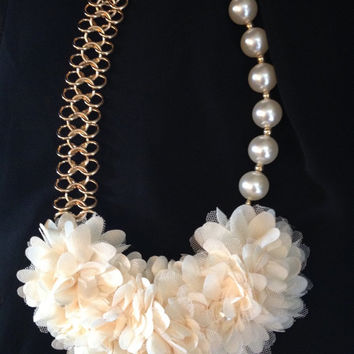 Unique Pearls and Champagne Flower Statement  Necklace
