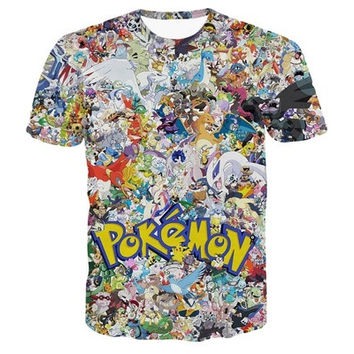 Pokemon Pikachu Eevee Collage 3D Print Shirt Man Woman Short Tee Top T-shirt [8833480588]