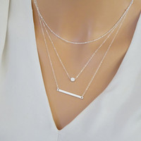Layered Necklace set, Horizontal Bar Necklace, Sterling Silver Satellite necklace, separate necklaces, layered necklace set