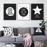 Modern Minimalist Nordic Black White Star Quotes Art Print Poster Wall Picture Nursery Canvas Painting No Frame Kids Room Decor