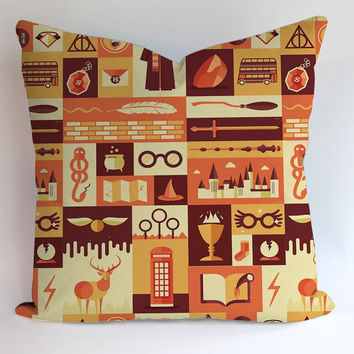 Harry Potter Icon Pattern Pillowcases Pillow Cases Covers Square Design Home Decoration
