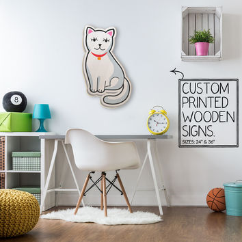 White Kitty Cat Custom Printed Wood Sign Unique Trendy Game Room
