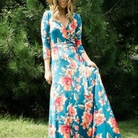 """Charlie"" Classic Teal Floral Faux Wrap Maxi Dress"
