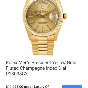 Rolex Men's President Yellow Gold Fluted Champagne Index Dial P18038CX