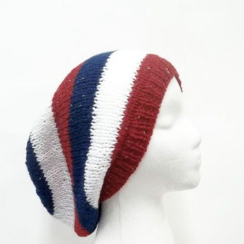 Knitted Slouchy Beanie hat Red White Blue knit sparkle  large size 5254