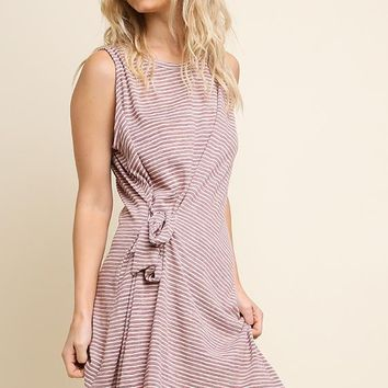 Mauve Striped Sleeveless Side Waist Tie Dress