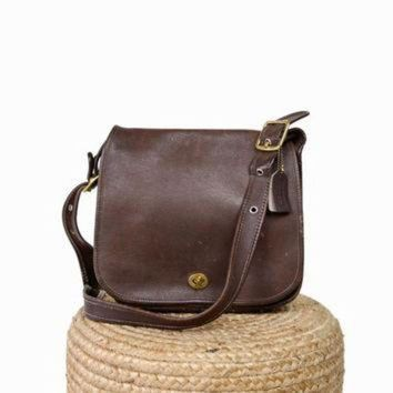 DCK7YE Vintage Coach Classic Stewardess Bag in Brown Leather
