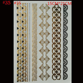 style Body art chain gold tattoo temporary tattoo tatoo flash tattoo metallic tattoo jewelry temporary tattoost stickers