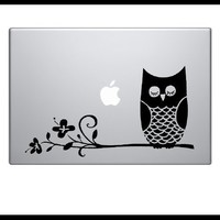 Owl on Branch - laptop notebook computer decal