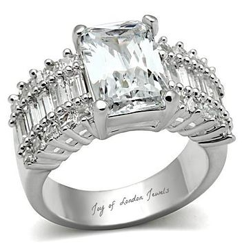 A Perfect 5.3CT Emerald Cut Russian Lab Diamond Engagement Ring