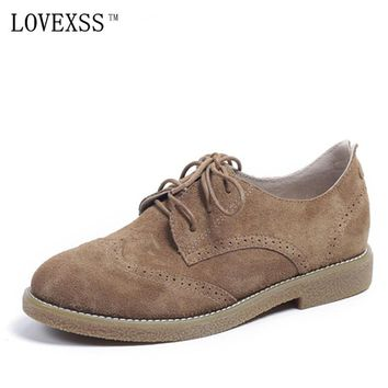LOVEXSS Genuine Leather Brogue Shoes Oxfords Brown Apricot Casual Lace-Up Flats 2017 Spring Autumn Student Brogue Shoes