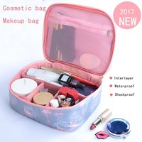 New Fashion printing Cosmetic bag Waterproof shockproof  Travel hand washing bag Multi-functional interlayer makeup bag