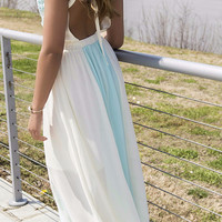Midsummer Night's Dream Mint & Cream Open Back Maxi Dress