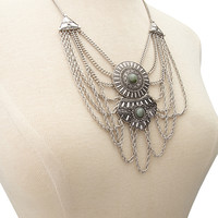 Draped Faux Stone Medallion Necklace