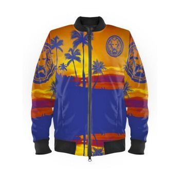 Blue Tropical Bomber Jacket