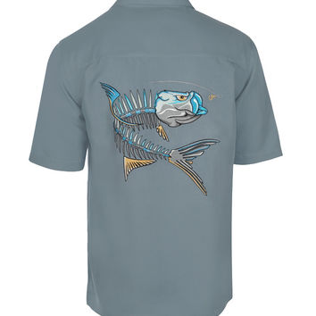 Men's Tarpon Action Bones Embroidered Fishing Shirt