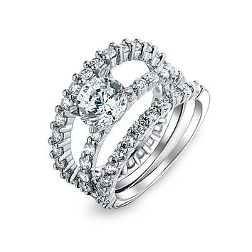 2CT Solitaire AAA CZ Eternity Engagement Ring Set 925 Sterling Silver