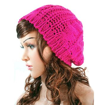 DCCKWQA New Winter Women Lady Winter Warm Knitted  Hat  Crochet Slouch Baggy Beret Beanie Cap Women Autumn Bone Bonnet Gorro Y1 Q1