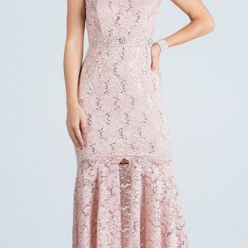 Lace Halter High and Low Formal Dress Keyhole Back Taupe