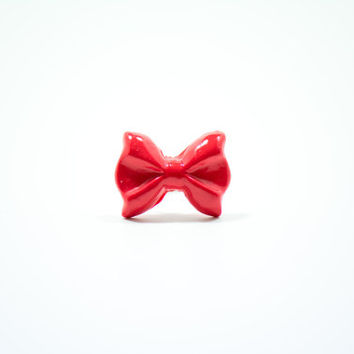 Fuchsia Bow Ring, Polymer Clay Ring, Bow Ring