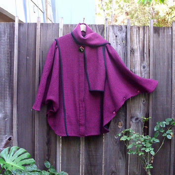 Vintage Wool Hounds-tooth Draped Cocoon Cape Coat/ Magenta Scarf Collar  Batwing Jacket