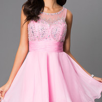 Fit and Flare Sleeveless Homecoming Dress 6048