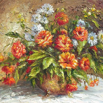 Love Vibration 23 x 30 Original Oil Painting Palette Knife Vase Bouquet Textured Colorful Vase Bouquet Orange White Hot  by Marchella