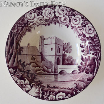 Vintage Purple Toile Candy Dish Bowl Dripping Roses Hills Broughton Castle Wood and Sons 5.5""