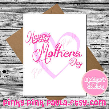 Mothers Day Card (Greeting Card. Card For Mother. Card For Mom. Blank Cards. Mothers Day Unique. Typography. Mothers Day Handmade.)