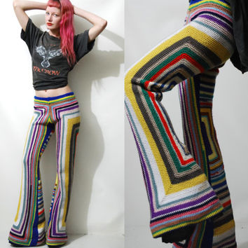 CROCHET Granny Square Pants FLARES Bells Rainbow 70s Vintage knit WOOL Hippie Bohemian xs s
