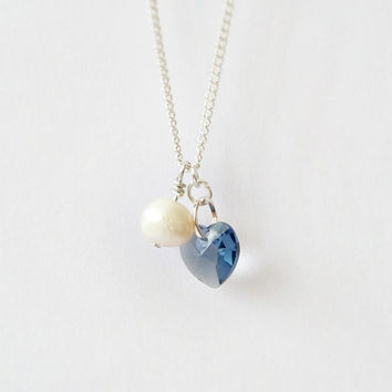 Heart necklace, Swarovski crystal & freshwater pearl pendant, denim blue white tiny necklace, minimalist jewelry, love necklace