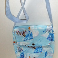 Small Messenger Bag - made by me with licensed cinderella blue princess fabric  - crossover purse