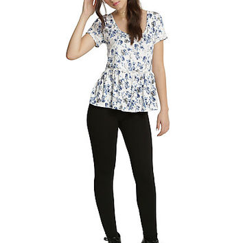 Disney Beauty & The Beast Rose Print Girls Peplum Top
