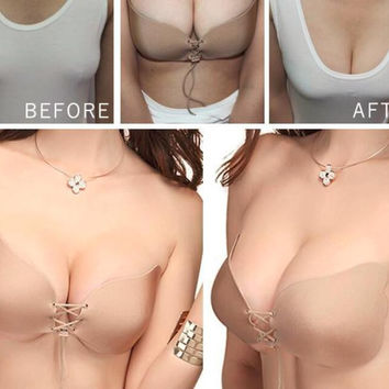 2017 Summer Hot Selling Fashion New Invisible Push Up Bra Women's Strapless Adhesive Demi Cup Bra Butterfly Wing Design
